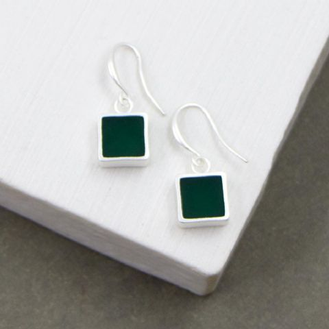 SQUARE INLAY RESIN EARRINGS GREEN